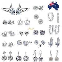 925 Sterling Silver Crystal Stud Earrings Women Studs Jewellery Small Hoop Gifts