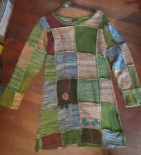 BNWT GRINGO PATCH WORK JERSEY COTTON DRESS / LONG TOP / TUNIC size 14 +