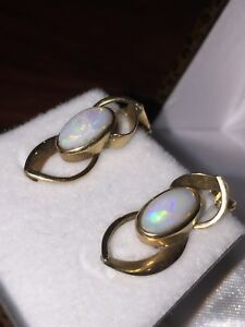 9K Yellow Gold & Solid Opal Earrings/Clips