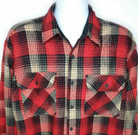 Vintage Sears Roebuck Flannel Red Plaid Long Sleeve Shirt Mens Size XL Tall