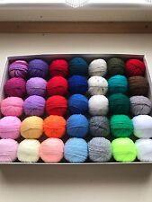 35 small balls of mixed wool / yarn oddments assortment 344 gr. DK