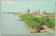 Baton Rouge Louisiana~Skyline On Mississippi River~Vintage Postcard