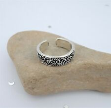 High Polish and Oxidized Toe Ring Tribal Toe Ring, Adjustable Sterling Silver