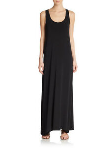 $245 NWT VINCE SzXS SCOOP NECK SLEEVELESS JERSEY MAXI DRESS BLACK/GREY