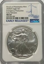 2020 (P) Silver Eagle Ngc Ms69 Er Emergency Issue Struck At Philadelphia Mint