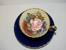Aynsley England Cabbage Rose Floral Signed J A Bailey Cobalt Blue Gold