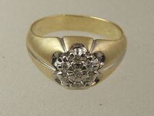 14 KT SOLID YELLOW WHITE GOLD ROUND CLUSTER QUALITY DIAMOND .25 CT MAN'S RING