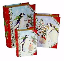 Set of 3 Punch Studio Nesting Book Box Boxes Christmas Penguins 43088