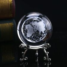 60MM 3D Crystal Ball Glass Laser Engraved Miniature Earth Sphere Decor Gift