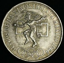 1968 25 Pesos Olympic Games Mexico (Estados Unidos) .720 Silver Coin