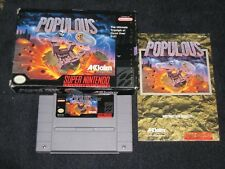 Populous N-Complete in Box for Snes!Authentic!Nintendo!C lean/Tested!