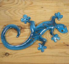 Gecko aus Metall in 28 cm Länge blau im Mediterranen Stil.