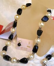 MAJORCA/MALLORCA PEARL NECKLACE BLACK ONYX ROCK/WHITE RHODIUM COMP faux majorica