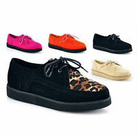 WOMENS LADIES LACE UP FAUX SUEDE PUNK GOTH PLATFORM FLAT CREEPERS SHOES SIZE 3-8