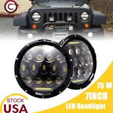 "2X 7""INCH Round LED HEADLIGHT w/ DRL Hi/lo Beam For 97-17 JEEP Wrangler JK TJ CJ"