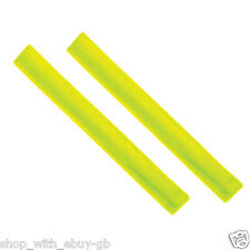 2 X HIGH VISIBILITY YELLOW ARM BAND ANKLE HI VIZ STRAP SLAP ARMBAND REFLECTIVE