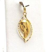 New 18K Gold Mother Of Sorrows Madonna Mary Diamond Cut Charm Pendant