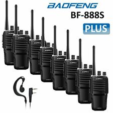 8x Baofeng Bf-888s Plus UHF FM Walkie Talkie 2 Way Radio Ham Earpiece SS