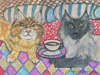 Siberian Drinking Coffee Original Pastel Painting 9x12 Cat Pop Folk Art by KSams