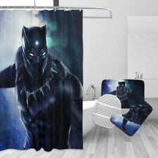 Marvel Black Panther 4PCS Bathroom Rugs Shower Curtain Bath Mat Toilet Lid Cover