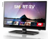 12V Fernseher, SAT TV + Internet Smart LED TV 18.5 Zoll HD Triple Tuner, WiFi