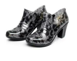 Womens High Block heel Wellies Floral Print Rain Zip Ankle Boots Casual Shoes