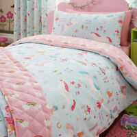 MAGICAL UNICORN & FAIRIES  REVERSIBLE DUVET COVER SINGLE BED