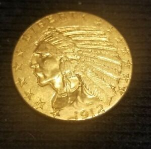1912 Indian Head Gold $5 Half Eagle Early Gold Coin