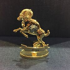 Gold Plated Zodiac Figurine W/Crystal - Aries, Capricorn, Scorpio, Taurus + More