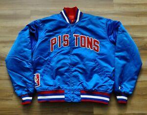 DETROIT PISTONS BAD BOYS VINTAGE STARTER JACKET BLUE SATIN NBA MEN MEDIUM