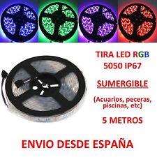Tira de Led RGB SUMERGIBLE IP67 5050 5m para Acuario Pecera Piscina Waterproof