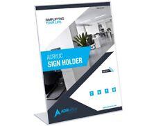 "Adir Plexi Acrylic 8.5"" X 11"" Single Slant Back Design Clear Sign Holder 3 Pack"