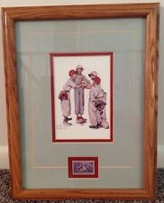 """Norman Rockwell """"Choosin' Up� Sporting Boys Baseball w/ Stamp Framed & Matted"""