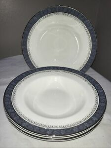 Set Of 4 Royal Doulton Sherbrooke Rimmed Soup Bowls 20.5cm H5009