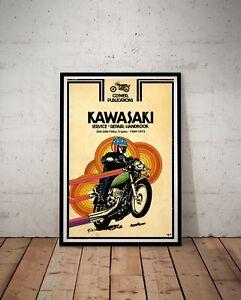"""Kawasaki Motorcycle Handbook POSTER! (up to full-size 24"""" x 36"""") - 1969 to 1972"""