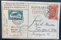 1920 Berlin Germany Early Early Airmail Picture Postcard Cover to Frankfurt
