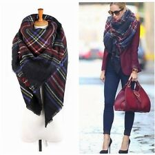 Vintage Wool Blanket Oversized Tartan Scarf Wrap Shawl Plaid Check Pashmina Warm