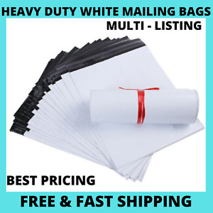 25 50 100 White Mailing Bags Strong Parcel Postage Plastic Post Poly Self Seal