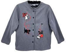 Blair Womens Cardigan Sweater Gray XL 1X Kittens Bow Red Ribbon Cats Christmas