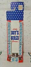 Vintage Boys & Girls Braces Suspenders Blue Flowers On Card Circa 1940s Nos