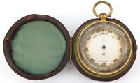 .ANTIQUE ENGLISH MADE POCKET BAROMETER + ORIGINAL STORAGE CASE.