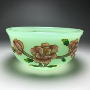 """4.3"""" Collect China Coloured Glaze Cloisonné Wire Inlay Peony Flower Bowl"""