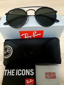 Ray-Ban Round Double Bridge Black Frame Grey/Blue Lens Sunglasses RB3647N
