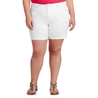 "Faded Glory Women's Plus-Size Shorts 7"" Inseam Artic White Size 26W"