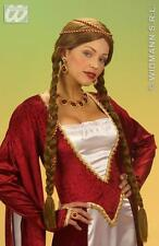 Ladies Long Brown Wig With Plaits Renaissance Fairy Take Princess Fancy Dress