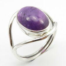 8 3.9 Grams 925 Solid Silver Combined Shipping Natural Cab Amethyst Ring Sz
