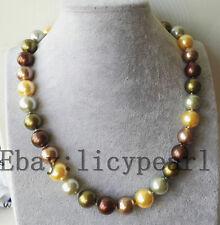 schöne 14mm bunte Muschel Perle Halskette 50 cm Magnet Verschluss