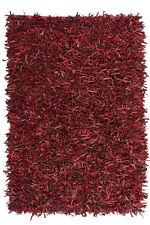 Tapis fait main 100% CUIR Shaggy à poils longs Tapis rouge 120x170 cm