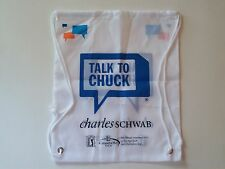 NEW CHARLES SCHWAB PGA Golfing Cinch Bag Sack Backpack Drawstring-Talk to Chuck