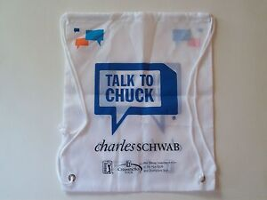 CHARLES SCHWAB PGA Golfing Cinch Bag (Set of 2) Backpack Sack Talk to Chuck NEW